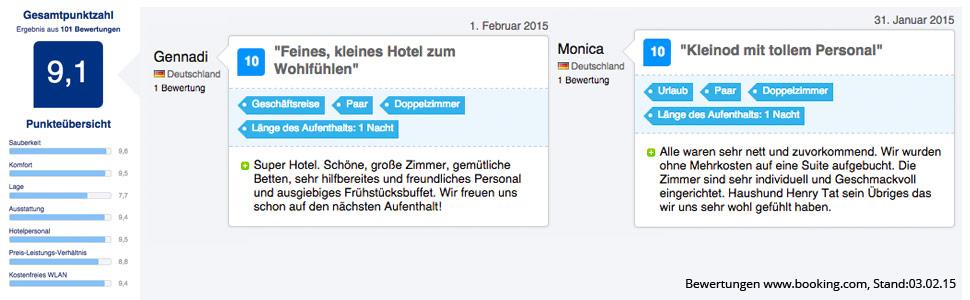 Bewertungen bei booking.com